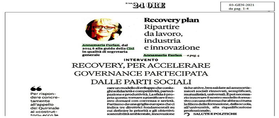 Recovery, per accelerare governance partecipata dalle parti sociali. Le 10 azioni strategiche della CISL