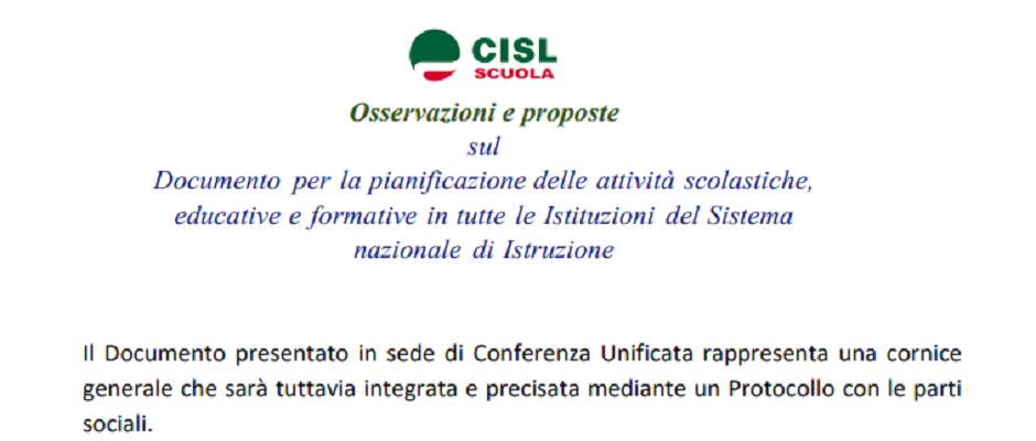 Osservazioni e proposte della CISL Scuola sulle Linee Guida del Ministero per la ripresa delle attività scolastiche in presenza